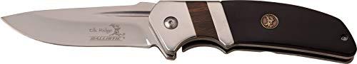 Elk Ridge ER-A167BK-MC ER-A167BK 3mm SW Blade Folder Knife, Black Pakkawood/Red Wood, ()