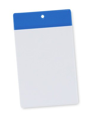 4'' x 6'' Non-Glare Vinyl Tag Holder with Blue Flap and Hang Hole (8 Gauge) (50 Tag Holders) - AB-99-6-02L
