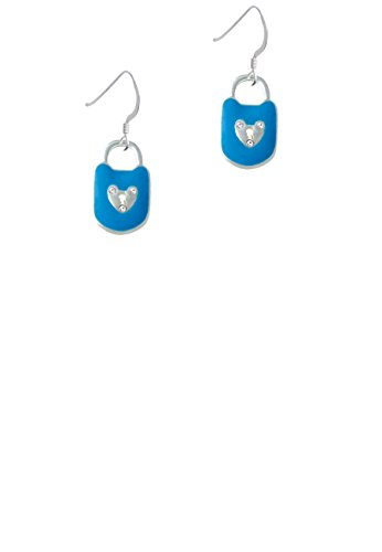 Hot Blue Enamel Lock with Clear Crystals - French Earrings
