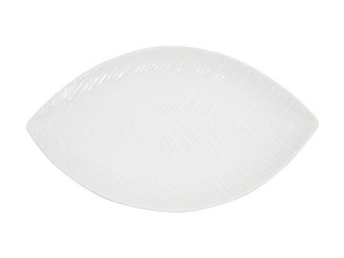 CAC China LFD-12 New Bone Porcelain Leaf Plate/Dish, 12 by 7-1/4 by 1-Inch, White, Box of 12