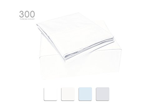 TRANQUIL NIGHTS Full Size White 100% Cotton Sheet Set, 300 Thread Count, 4-Piece Set, Combed Compact Cotton, Percale Weave, Classic Z Hem, Cool & Crisp, Fits Mattress Upto 17