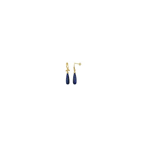 14K Yellow Gold 20X6mm Tear Drop Genuine Lapis Dangle (Yellow Gold Genuine Lapis Earring)