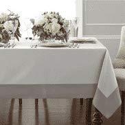 Wamsutta Bordered Linen Tablecloth 90 in Square in Grey