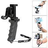 Ergonomic Action Camera Handle Grip Support w/ Smartphone Clip for GoPro Grip Holder Support for GoPro Hero 5 /4/3/Session...