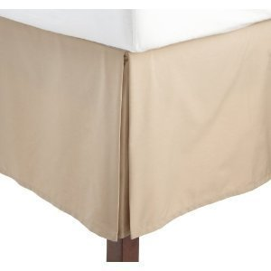 - sheetsnthings Solid Beige Jacquard King Pleated Tailored Paulina Bed Skirt with 14 Inches Drop Bed Ruffle