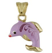 18K Yellow Gold Lavender Enamel Dolphin Charm (12mm x 15mm / 23mm with Bail)