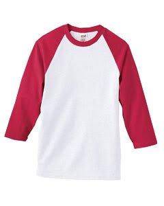 Anvil Youth 3/4-Sleeve Raglan Baseball Jersey, L, White/Red