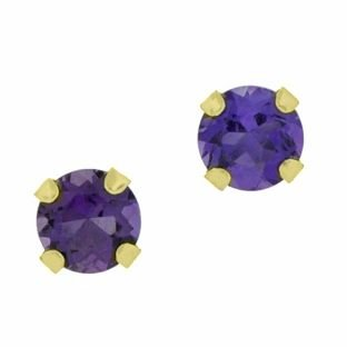 - .3 cttw Round 4MM Natural Purple Amethyst 10K Yellow Gold Stud Earrings