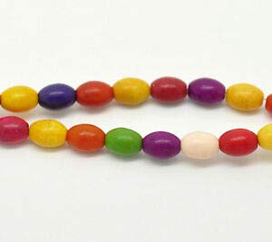 Small Gemstone Howlite Oval Rice Beads, 8mm x 6mm 1 Strand, 45 Beads how0237 Crafting Key Chain Bracelet Necklace Jewelry Accessories Pendants ()