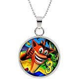 (Crash Bandicoot Pendant Necklace Character Cartoon Superhero Gaming Console PC Games Logo Theme Cosplay Premium Quality Detailed Jewelry Gift)