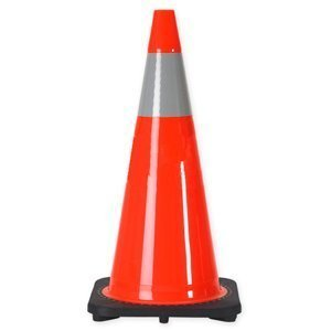 28'' Orange Traffic Safety Cones with One Reflective Band (Pack of 8) by Comfitwear