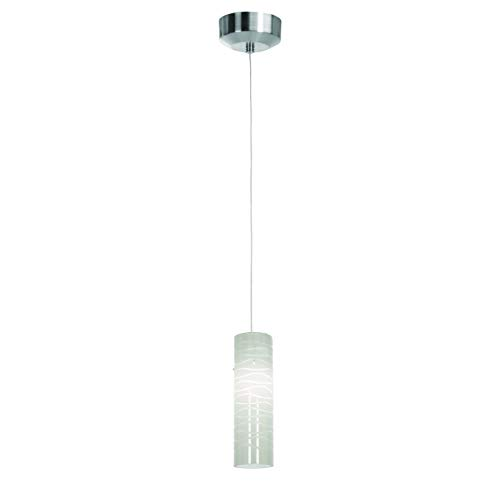 Access Lighting 72932LED-BS/WHTLN Tungsten LED Light Anari Silk Pendant with White Lined Glass Shade, Brushed Steel Finish