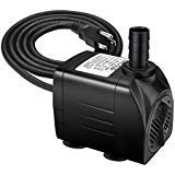Jhua Water Pump 300GPH (1200L/H, 21W) Submersible Water Pump, Ultra Quiet Fountain Water Pump with 5.9ft Power Cord, 3 Nozzles for Aquarium, Fish Tank, Pond, Statuary, Hydroponics - Pump Pond 3