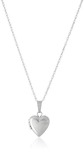 Children's 14k White Gold Satin and Polished Heart Locket Necklace, 13'' by Amazon Collection