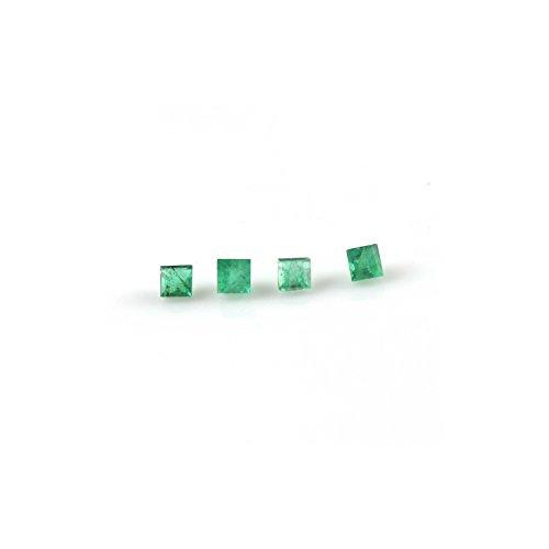 K B Narnolison Natural Green Zambian Emerald 2 mm Size Square Cut Shape Loose Gemstone for Jewelry Making