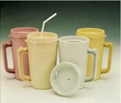 Large Plastic Mug - Medegen Bedside Pitcher Mug Cold, 34oz, Rose (Each)