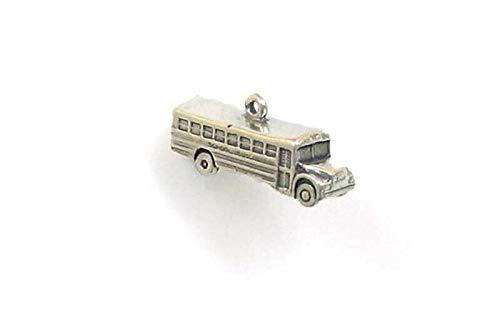 Pendant Jewelry Making/Chain Pendant/Bracelet Pendant Sterling Silver 3-D Full Size School Bus Charm