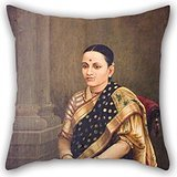 Artistdecor Oil Painting Raja Ravi Varma - Portrait Of A Lady Pillow Shams ,best For Outdoor,bedding,gf,teens Girls,couch,bar Seat 20 X 20 Inches / 50 By 50 Cm(both Sides) (Raja Ravi Varma Portrait Of A Lady)