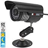 "SecurityIng - Black Housing 420 TVL 1/3"" Sony CCD Colorful Night Vision Indoor / Outdoor Bullet CCTV Security Camera, 36PCS IR LEDs Support 90 Feet View Distance, IP66 Waterproof Level"