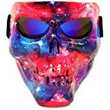 Vhccirt Airsoft/Paintball/Motorcross Protective Mask Halloween Spooky Decor Scary Skull/Zombie Face Mask Halloween Grim Reaper Cosplay Nebula/Stardust Mask Blue Lenses -