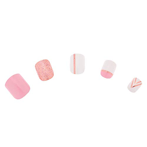 Claires Geometric Glitter - Juego de uñas postizas (24 ...
