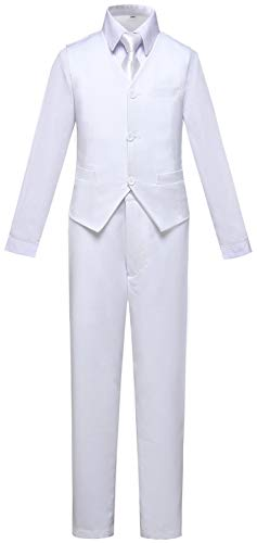 Visaccy White Suit for Boys All White Outfit Dress Pants Blazer Vest Size 12