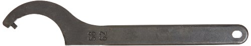 Fixed Pin - JW Winco A54965 Black Finish Steel Hook Spanner Wrench with Fixed Pin for 58-62mm Round Nuts, 240mm Length x 7mm Thick