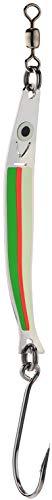 PEETZ Hammer 3.25-Inch 'Poison Apple' Needlefish Spoon Fishing Lure | UV Fluoro Red, Fluoro Green & Green Glow in The Dark | Stainless Steel Ocean Casting Hard Bait for COHO Salmon