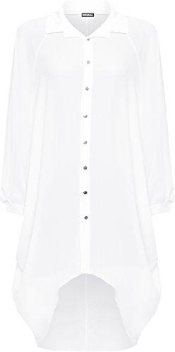 WearAll Damen Übergröße Batwing Hemd Kleid Lang Hülle Tauchen Saum Hi Es Schaltfläche Kragen Damen - 5 Farben - Größe 44-54 Weiß Suz12q
