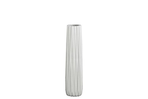 Urban Trends Ceramic Elongated Round Vase with Round Lip and Ribbed Body, Medium, Matte White (Ribbed Ceramic)