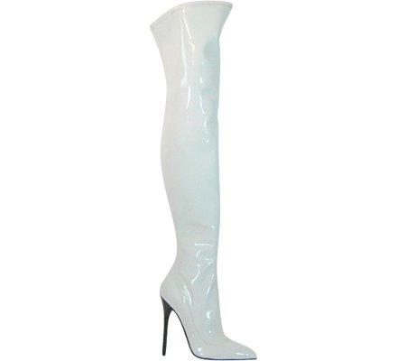 Högsta Häl Kvinna Hård-101 Boot White Patent Stretch Pu