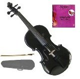 GRACE 1/10 Size Black Acoustic Violin with Case and Bow+Free Rosin+Merano Brand E String