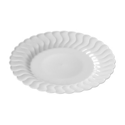 Flairware Round Rippled Disposable Plastic Dinner Plate (144/Case) Color: White by Fineline settings