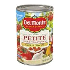 Del Monte Petite Cut Garlic & Olive Oil Diced Tomatoes 14.5 oz (Pack of 12)
