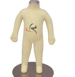 (JF-CH03M) Roxy Display Child Body Form 3 Month White Jersey Form Cover,with Head, Flexible arms, Fingers & Legs, Metal Base Fabric.