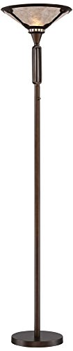 Samuel Oil-Rubbed Bronze Torchiere with Mica Shade - Mission Torchiere Lamp