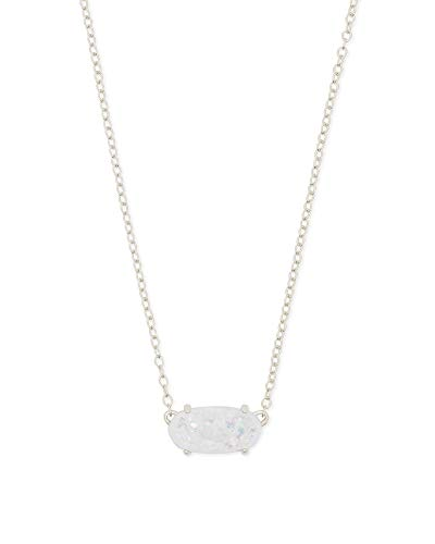 Kendra Scott Ever Pendant Necklace in Iridescent Drusy, Rhodium Plated