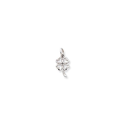 ICE CARATS 10k White Gold Solid 4 Leaf Clover Pendant Charm Necklace Good Luck Italian Horn Fine Jewelry Ideal Mothers Day Gifts For Mom Women Gift Set From Heart