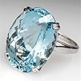 925 Silver Large Oval Cut Aquamarine Ring Women Jewelry Gift Size 6-10 (8) ()
