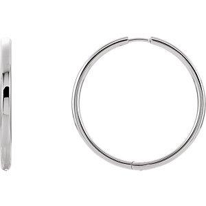 Sterling Silver-Hinged Hoop Earrings