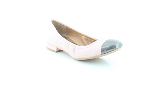 Calvin Klein Womens Fiana Leather Cap Toe Ballet Flats, Blush, Size 7.0