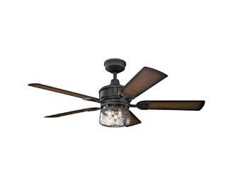 Kichler Lighting 310139DBK Lyndon Patio-52 Ceiling Fan with Light Kit, Walnut Blade Finish, 52 Inch, Distressed Black