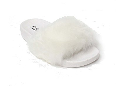 Kali Footwear Women's Flip Flop Faux Fur Soft Slide Flat Slipper Limit (6.5 B(M) US, White) by Kali Footwear