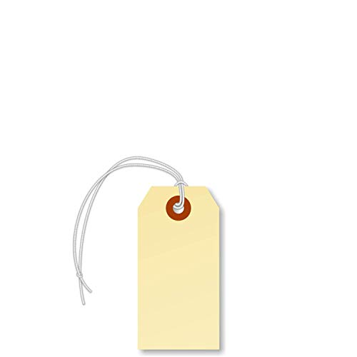 "SmartSign Manila Shipping Tags with Elastic Attached, Size #2 | 13pt Cardstock Tag, 3 1/4"" x 1 5/8"", Pack of 250"
