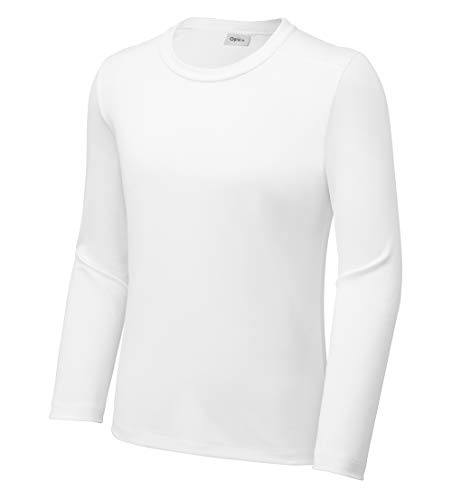 Opna Youth UPF 50+ UV Sun Protection Long or Short Sleeve Boys Girls T-Shirt Athletic Outdoor White