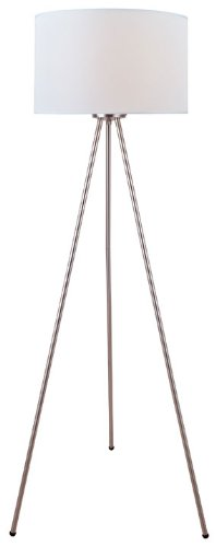 Downlight Fabric Shade (Lite Source LS-82065 Floor Lamp with White Fabric Shades, Polished Chrome Finish)