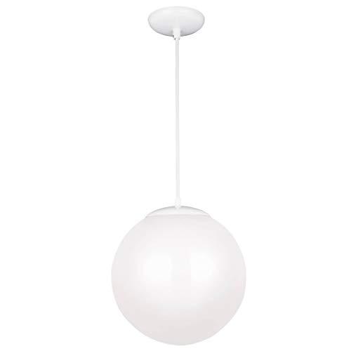 Sea Gull Lighting 6024-15 14 Inch Glass Globe Pendant, White Finish with Opal Glass