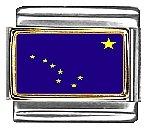 Alaska State Flag Italian Charm Bracelet Link 9mm Italian Charm Patriotic Flag