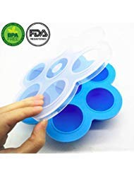 Premium Silicone Egg Bites Molds For Instant Pot Accessories - Fits 5,6,8 qt Pressure Cooker, Homemade Blue BPA Free Baby Reusable Storage Container and Freezer Tray With Lid by Thriving Organics