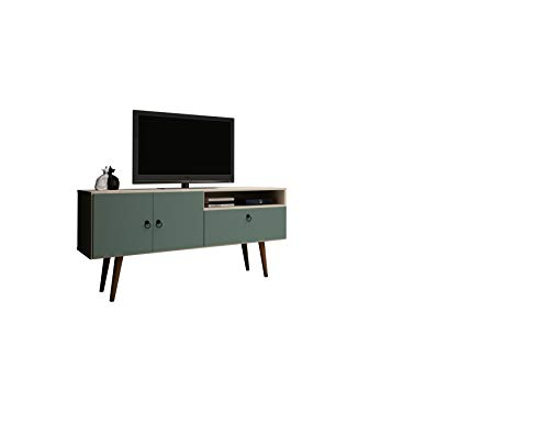 Living Room Manhattan Comfort Tribeca Mid-Century Modern TV Panel with Overhead Décor Shelf, 53.94″, Off White/Green Mint modern tv stands